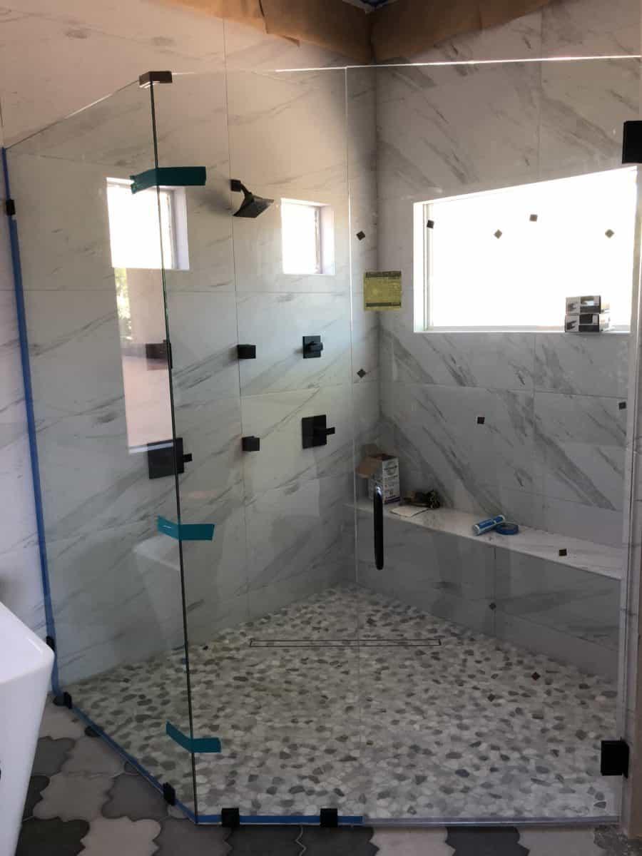 Master Shower Glass Installation