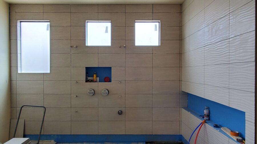 Spa Master bath Tile niche bordeaux builders
